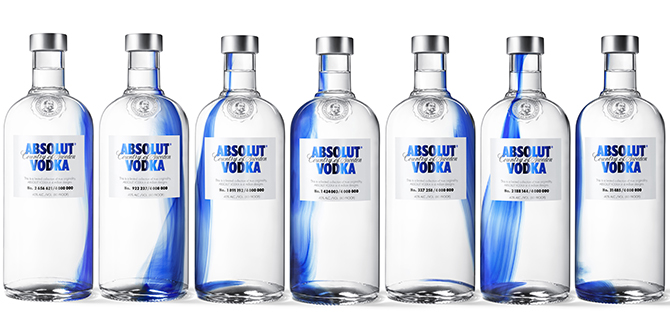 bouteille absolut design originality bleu unique